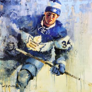 Auston Matthews hockey painting by Jerry R. Markham
