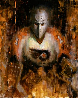 Bernie Parent hockey art print - hockey painting - by artist Jerry markham