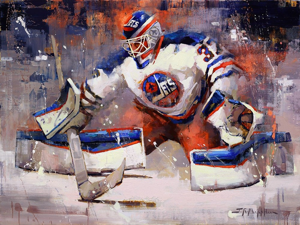 Connor Hellebuyck Hockey Painting By Jerry R Markham