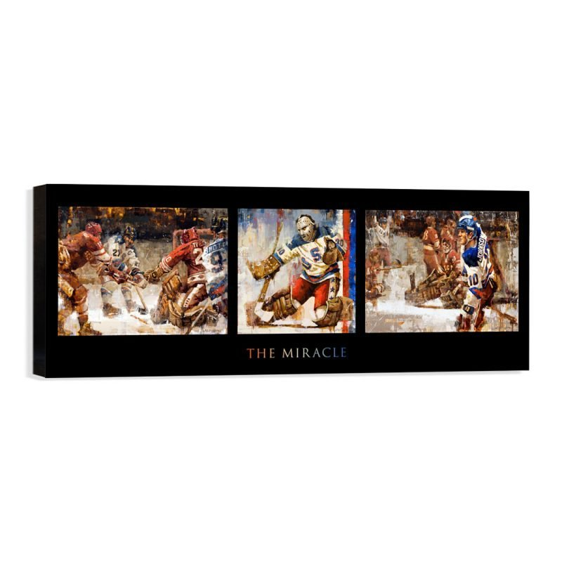 USA Hockey Miracle on Ice 3 paintings in one canvas print