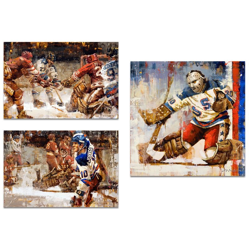 Miracle on Ice Poster Print Set of 3 Vertical Format 1980 Olympics USA Hockey Prints