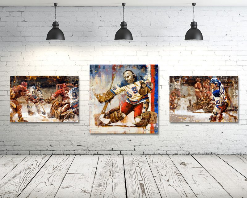 Miracle on Ice Canvas Print Set of 3 Vertical Format 1980 Olympics USA Hockey Prints