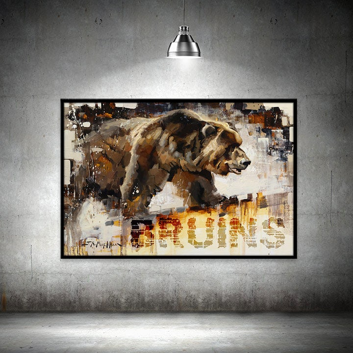 Bruins Grizzly print framed