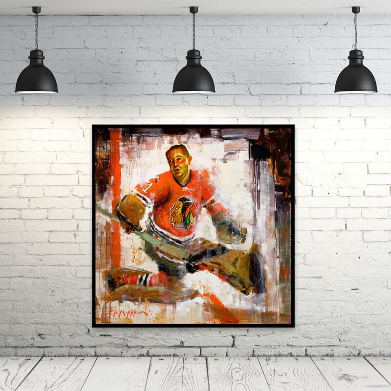 glenn hall chicago blackhawks art canvas print blackhawks gift