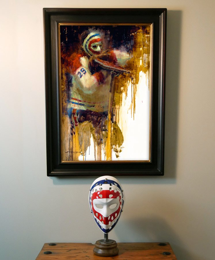 Ken Dryden original hockey painting by Jerry R Markham