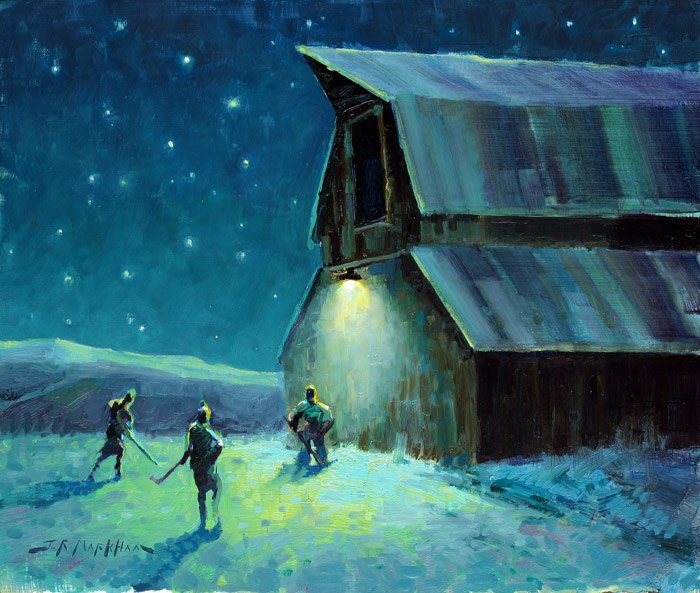 Next Goal Wins - Painting of playing hockey on outdoor rink at farm