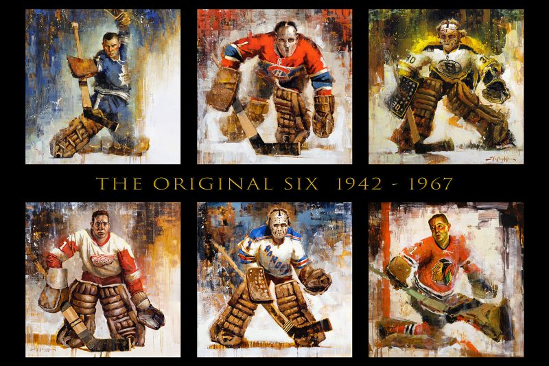 original six hockey canvas wall art print