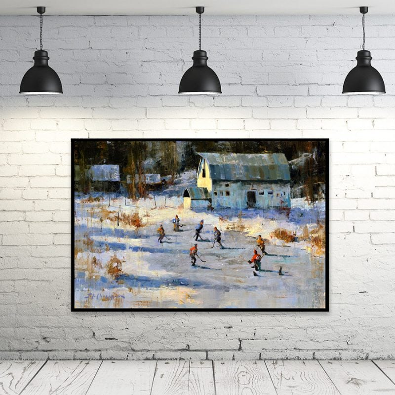 Pond Hockey - painting of outdoor hockey playing framed print