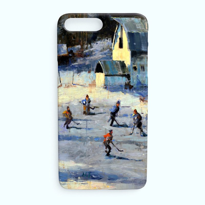 iPhone case with hockey art image of outdoor hockey game