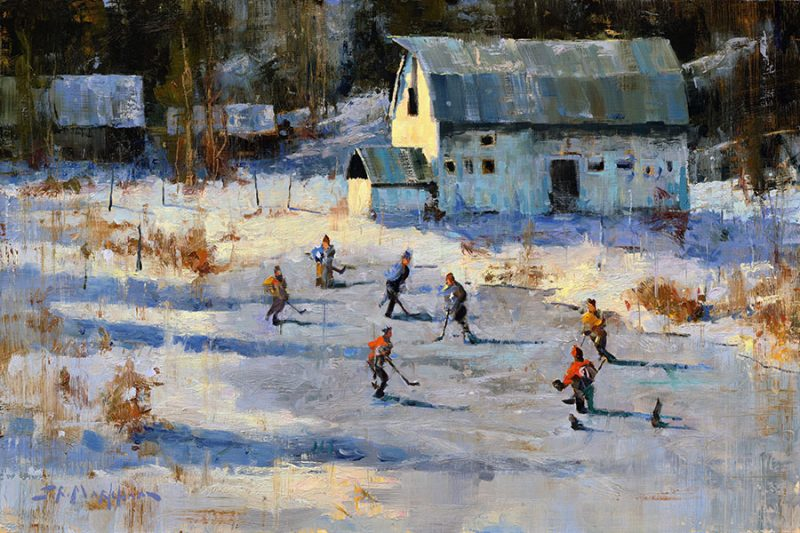 Pond Hockey painting art print