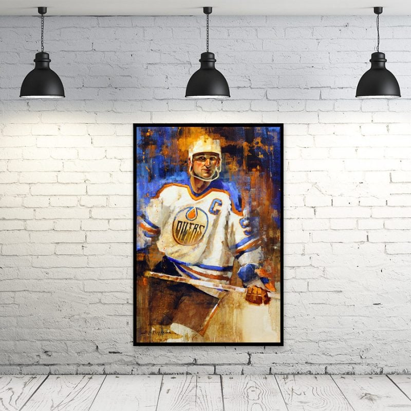 gretzky art print oilers white jersey
