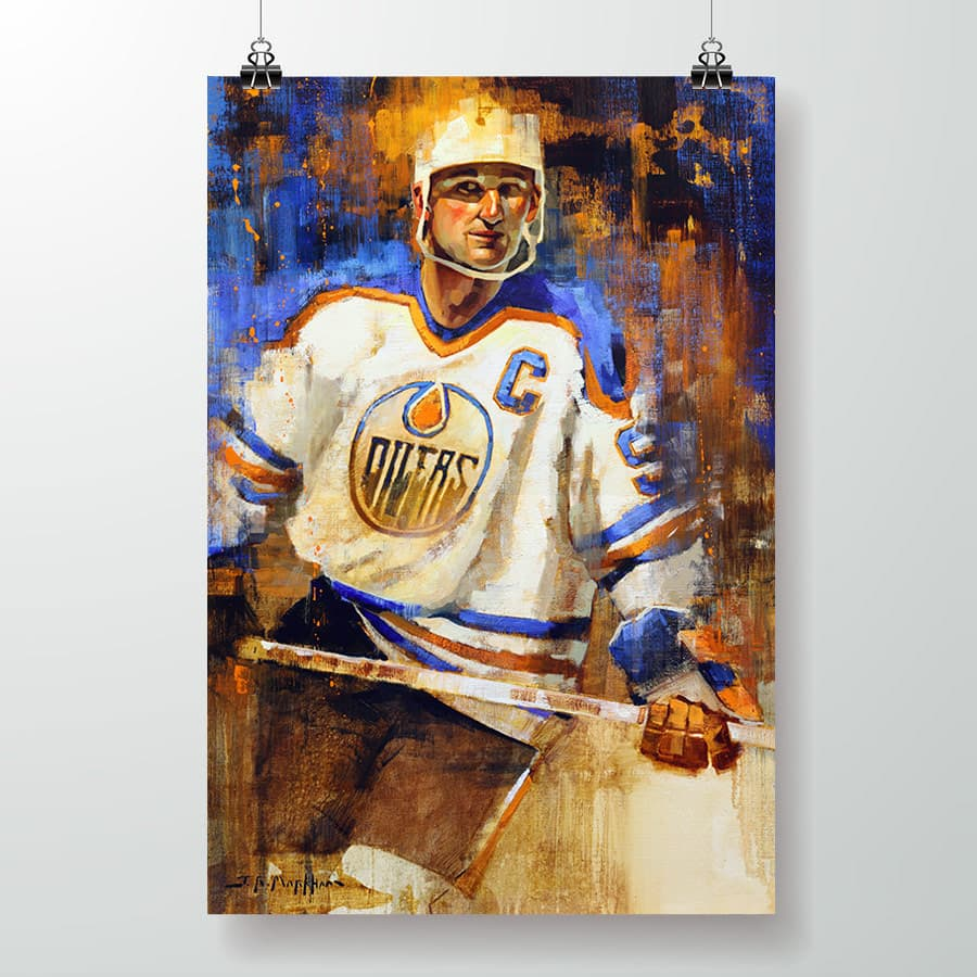 gretzky poster oilers white jersey
